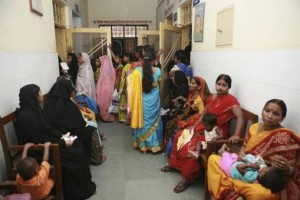 Mother's waiting with their children outside Dr. Kumar's clinic